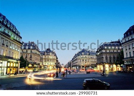 Night scene near Grand Opera in Paris