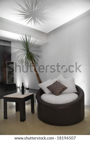 Night scene of a stylish and modern living room