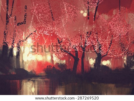 Stock Photo night scene of autumn forest,fantasy landscape painting