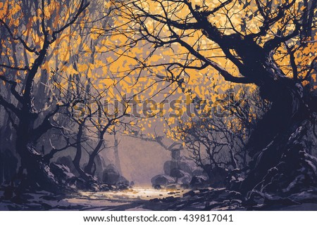 night scene of autumn forest,landscape painting