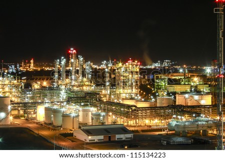 "Night scene of chemical plant , ""Maptaphut industrial"" , Eastern of Thailand"