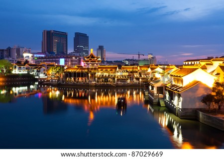 night scene of Chinese ancient town