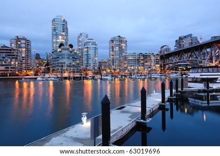 night scene of city from granville island, vancouver, british columbia, canada