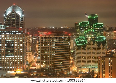 Night scene of Downtown San Diego California