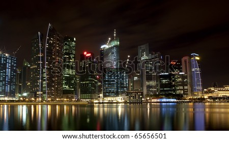 Night scene of financial district,Singapore. From the river.
