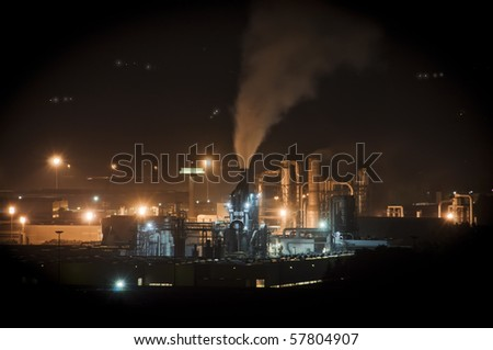 Night Scene of industrial pollution - stock photo