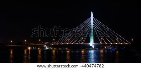 Night scene of link bridge in Lagos City, Nigeria