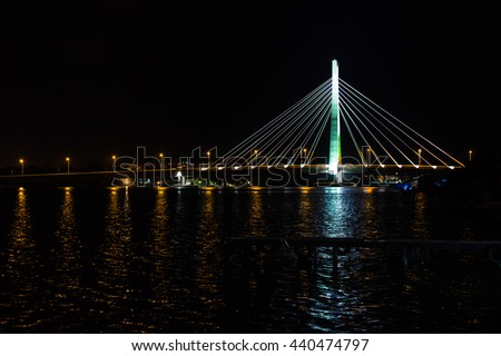 stock photo night scene of link bridge in lagos city nigeria 440474797 - Каталог — Фотообои «Мосты»