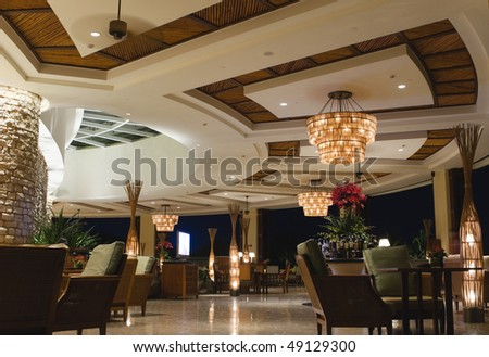 night scene of lobby bar at a tropical resort, sanya, hainan, china.