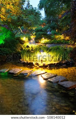 night scene of national historical site butchart garden, victoria, british columbia, canada