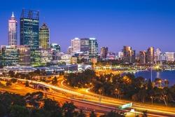 night scene of perth skyline, capital of western australia in australia