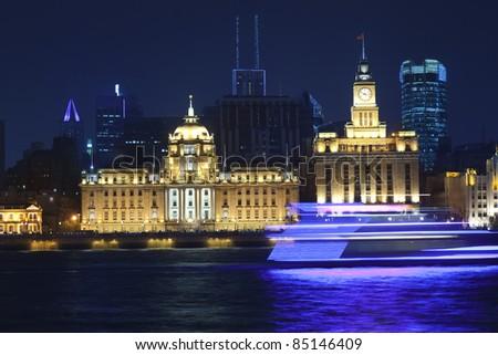 night scene of Shanghai bund