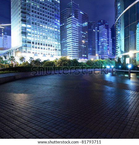 night scene of shenzhen special economic zone,China - stock photo