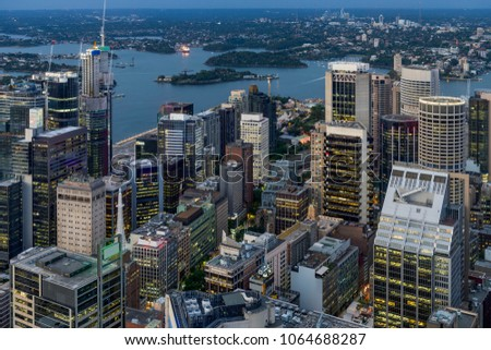 Night scene of Sydney central business district. #1064688287