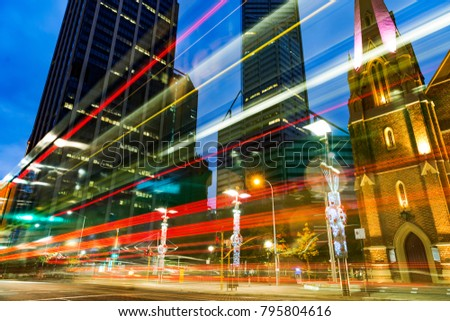 Night scene of  Sydney central business district. #795804616