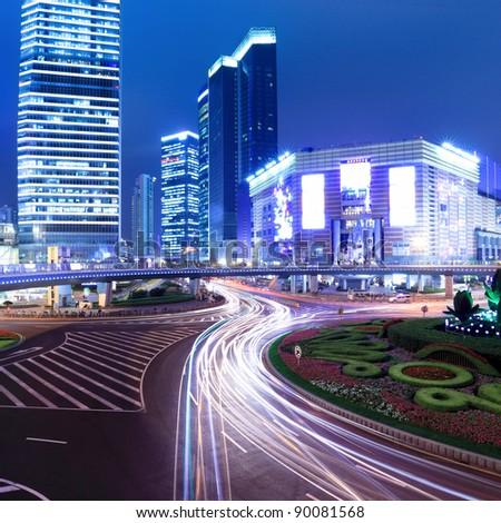 night scene of the prosperous city in shanghai,China