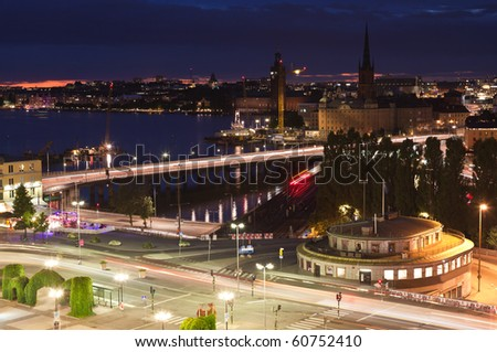 Night scene of the Stockholm City at top of Katarina elevator