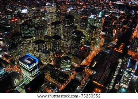 Night Scene of Toronto Skyscrapers viewed from CN tower, Toronto, Ontario, Canada
