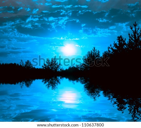 night scene on lake with moonlight