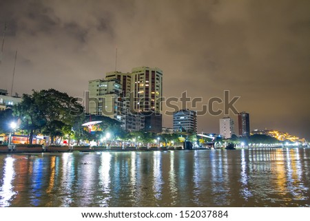 night scene on malecon 2000 guayaquil ecuador south america