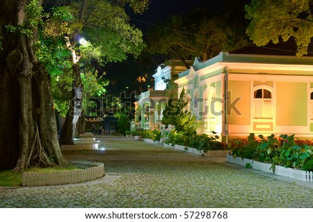 Night scene, the colonial house in the Houses-Museum in Taipa island, Macau