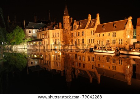 night scene: the old town of Bruges in Belgium