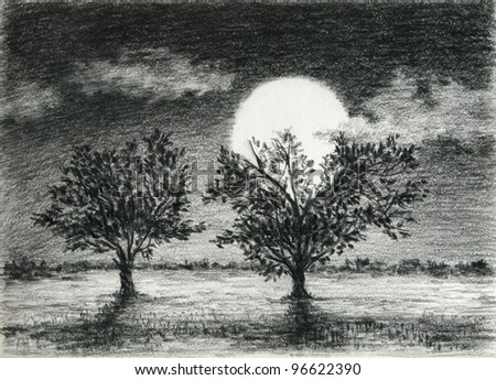 Night scene, two trees are lit by moonlight, charcoal drawing art.