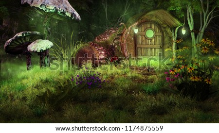 Night scene with fairytale house, flowers and mushrooms. 3D illustration.