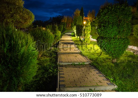 night scene with paving stairs outside #510773089