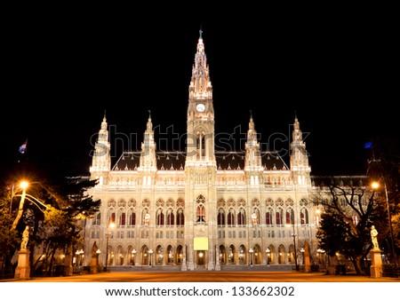 Night scene with town hall in Vienna, Austria