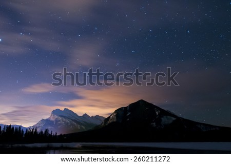 Night scenery Mount Rundle and Vermilion Lakes Banff National Park Alberta Canada