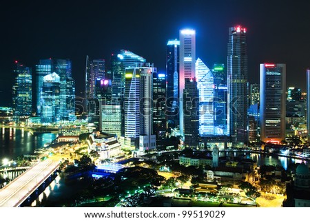 Night Scenery of Singapore's downtown high-rise buildings and neighborhoods in night light