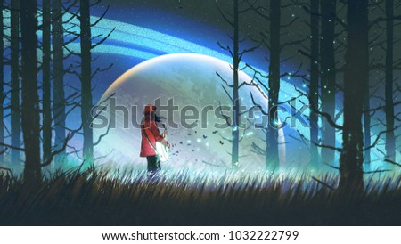 Stock Photo night scenery of young woman playing a magic guitar in the forest against glowing planet on background, digital art style, illustration painting