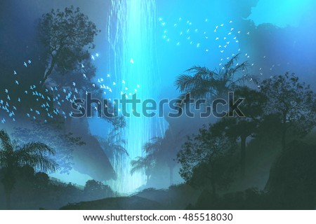 night scenery showing blue waterfall in forest,landscape painting,illustration