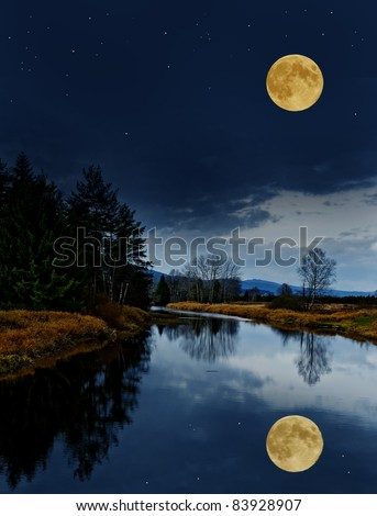 night scenery with the river and the moon - stock photo