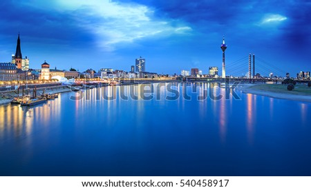 Night scenes of Dusseldorf and Rhein river in Germany #540458917