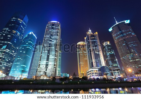night scenes of shanghai financial center district