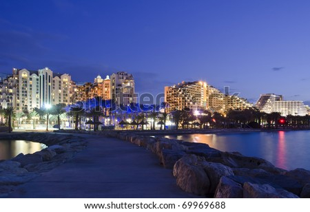 Night scenic view on the central promenade in Eilat city, Israel