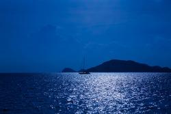 Night sea landscape with boat in the sea,Fantasy night sea