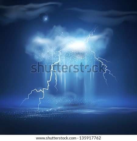 night sea landscape with thunderstorm