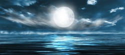 Night seascape. Dark landscape with a marine background and sunset, moon. Abstract night landscape in blue light. Reflection of the moon in the night water. Empty futuristic landscape.