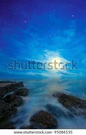 night seascape with the stars and the moon - stock photo