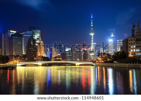 night shanghai, beautiful suzhou river and lujiazui financial center