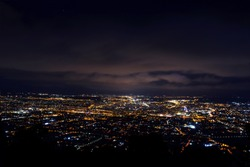 Night shoot of Murcia city in Spain. Amaizing panorama views on the night city.