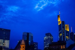 Night shoot of the buildings in the city of Frankfurt am Main, Germany