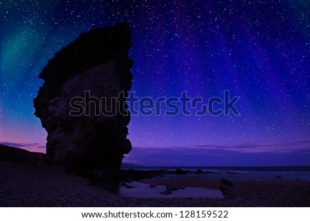Night shot at Carbonares coast, in Spain, natural park of the Cabo de gata. Almeria - stock photo