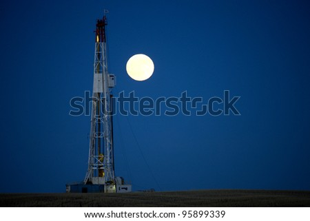 Night Shot Drilling Rig Potash Mine Saskatchewan Canada