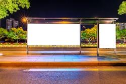 Night shot of a luminous advertising lightbox or display at a bus stop in Shanghai,China.