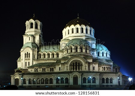 Night shot of a St. Alexander Nevsky cathedral in Sofia, Bulgaria