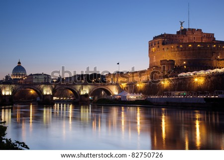 Night shot of Castel Sant'Angelo, at the Tiber river, in Rome, capital of Italy